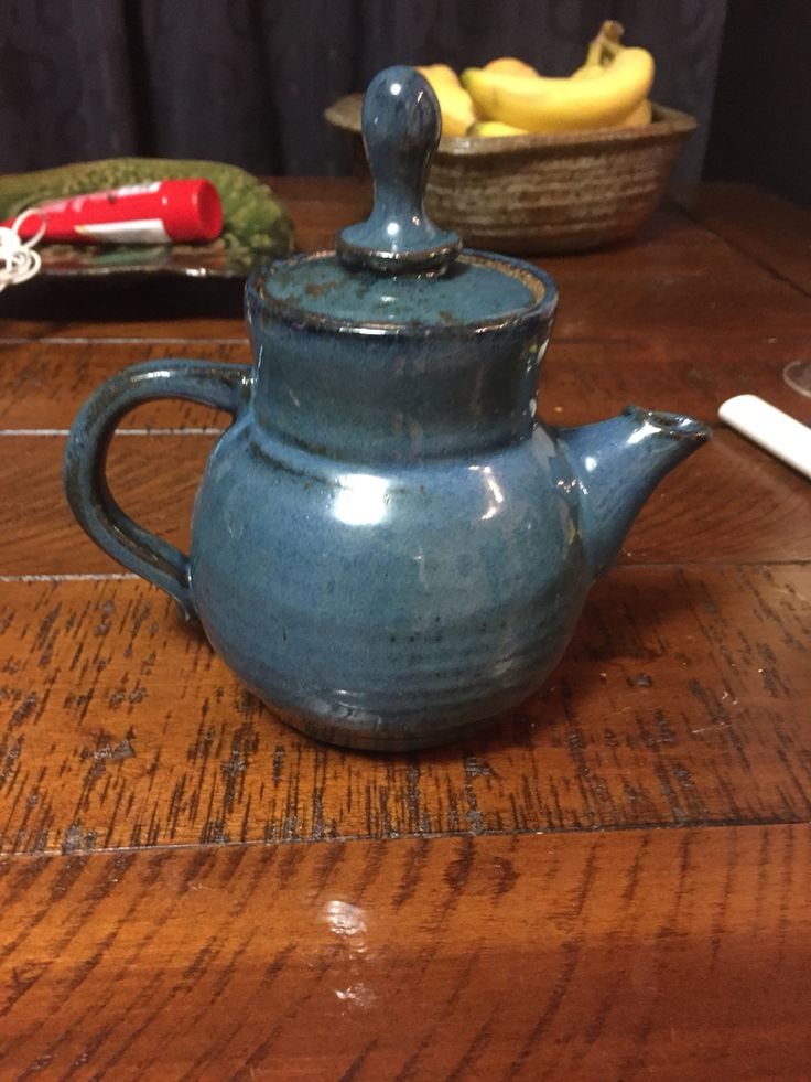 Fiord blue teapot, just out of the kiln.