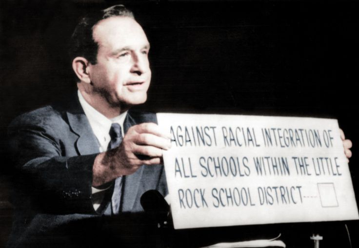 Governor Orval Faubus fights desegregation of schools.
