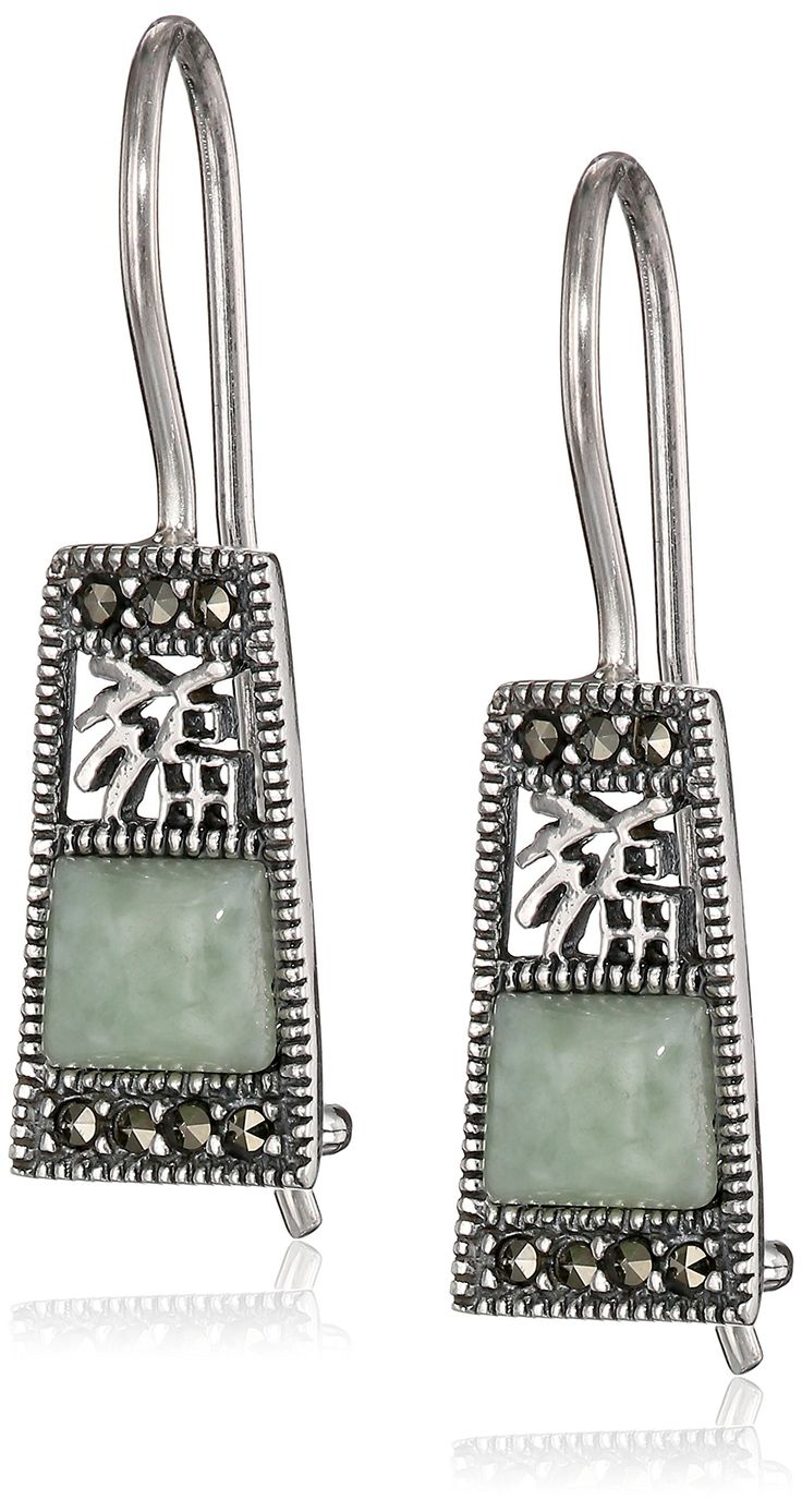 Sterling Silver Marcasite Gfreen Jade Fortune Wire Drop Earrings: