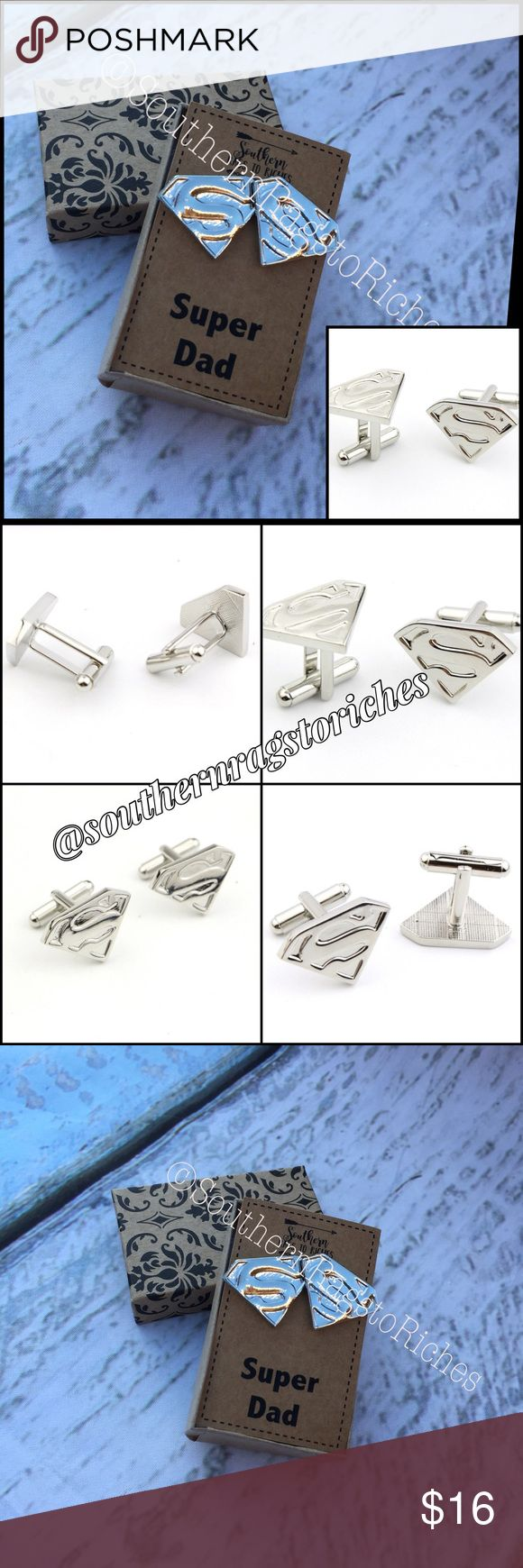 """Superman Cuff Links Personalized Gift for Father Check out these awesome, new Superman Cuff Links in! Perfect Gift for a Super Dad! In silver!  Comes in free Gift Box with free card with the quote """"Super Dad"""" printed  You can choose to NOT have that quote & personalize it with the person's name: Ex: """"Super Dave""""       """"You're my Favorite Superhero""""  Or another personal message (Depending upon length of the message).   If you want a personalized message, send me a message as soon as you…"""