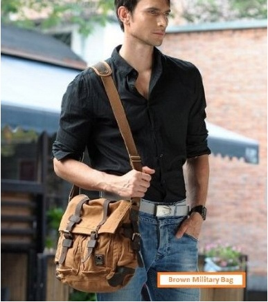 #Brown #Military Style #Messenger #Bag $64.99 .  High-quality cotton mixed fabric and #leather. Hand wash in cold water only.  #fashion #mens #meinstyle