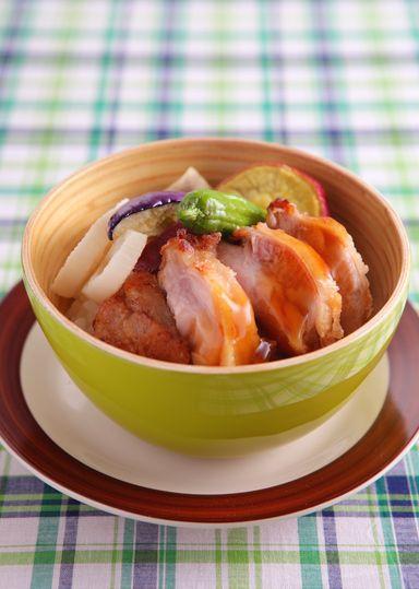 秋野菜のチキン丼 のレシピ・作り方 │ABCクッキングスタジオのレシピ   料理教室・スクールならABCクッキングスタジオ
