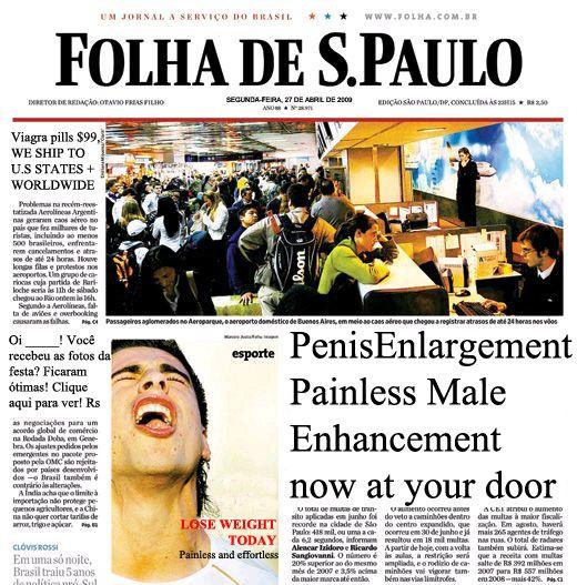 Folha de S. Paulo, also known as Folha (Portuguese pronunciation: [ˈfoʎɐ], Sheet), is a Brazilian daily newspaper founded in 1921 under the name Folha da Noite and published in São Paulo by Empresa Folha da Manhã. http://www.folha.uol.com.br/ http://mais.uol.com.br/folha http://www.flickr.com/photos/ducroquet/ http://en.wikipedia.org/wiki/Folha_de_S._Paulo