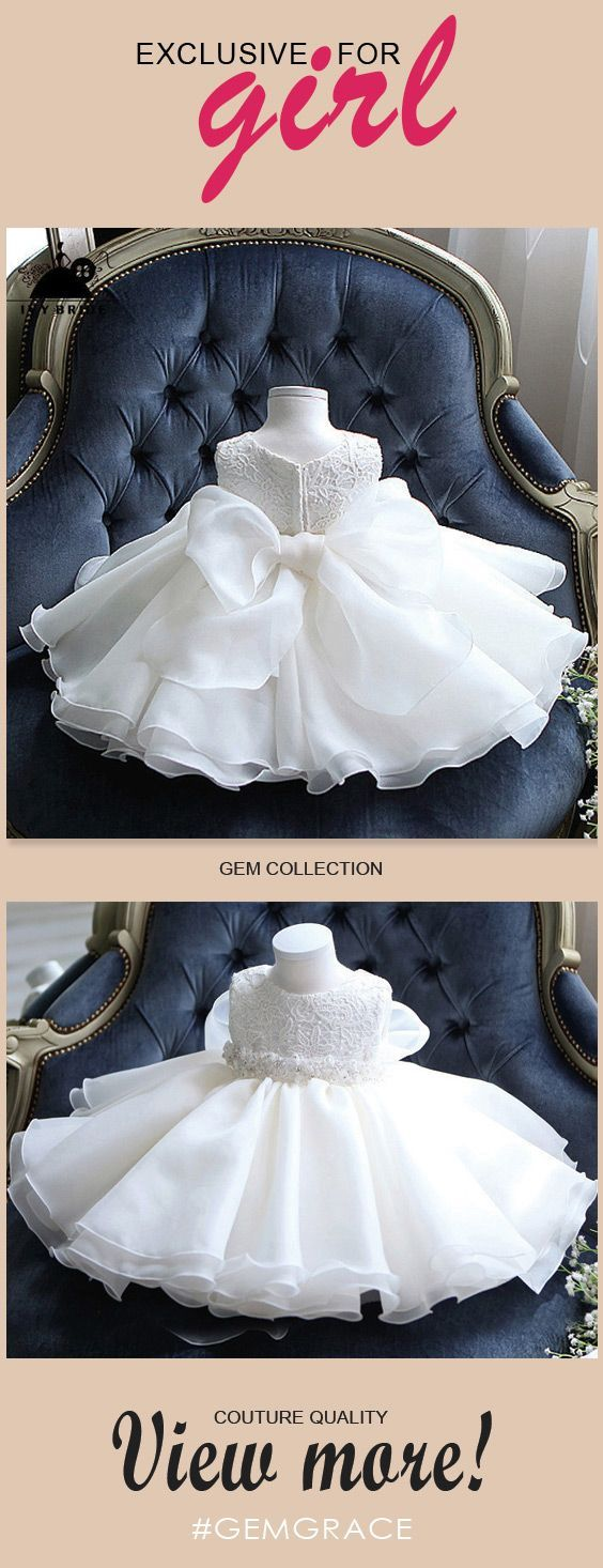 Cute Tutu Lace Flower Girl Dress White With Big Bow In ...