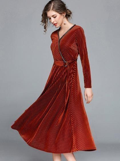 Dark Brown Velvet V Neck D Ring Belt Long Sleeve Midi Dress