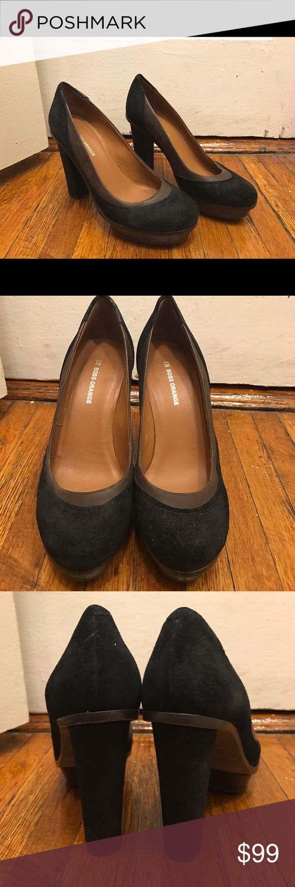 Boss Orange Platform Pumps Two tone platform pumps. Black suede with leather panel and a rubber sole. They're hardly used, almost brand new and in good condition. Offers Welcome :) BOSS ORANGE Shoes Platforms