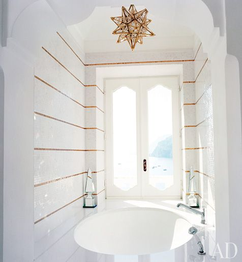high gloss tile with narrow stripe detail.  so much architecture in this bathroom.  Architectural Digest.