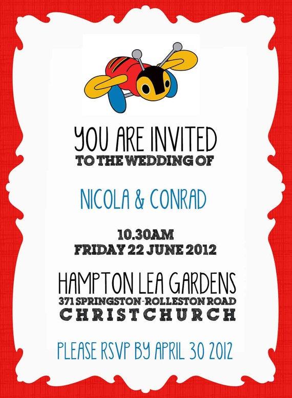 Kiwiana Buzzy Bee graphic wedding invitation by happywhale on Etsy, $20.00