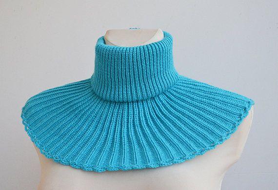 turquoise knit cowl turquoise necwarmer knit scarf unisex