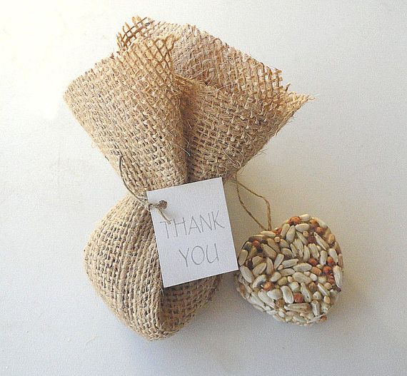 Nature Favors Handmade Wedding: Natural Favors, Wedding Favors, Idea, Birds Feeders, Birds Seeds, Burlap Favors Bags, Wedding Parties Favors, Burlap Bags, Burlap Wedding