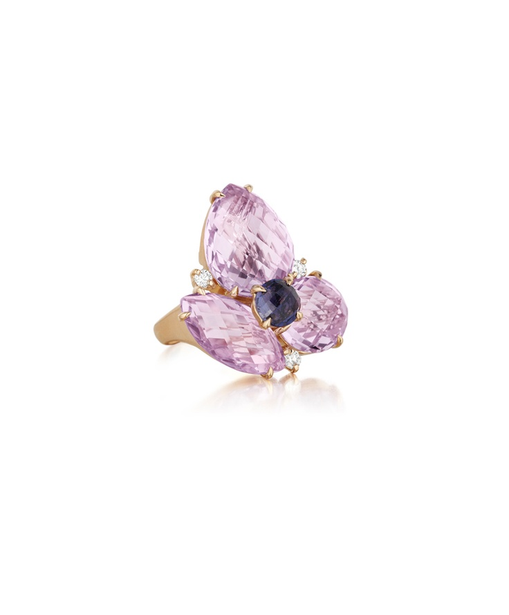 Carelle 18K Rose de France Amethyst Leaf Ring with Diamonds, Size 7