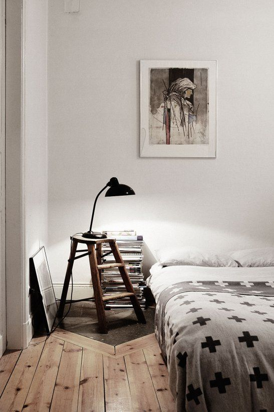 Who would of thought to use an old wooden step stool ladder being used as a bed side table. http://www.ladders-online.com/uk/hop-ups-category.html