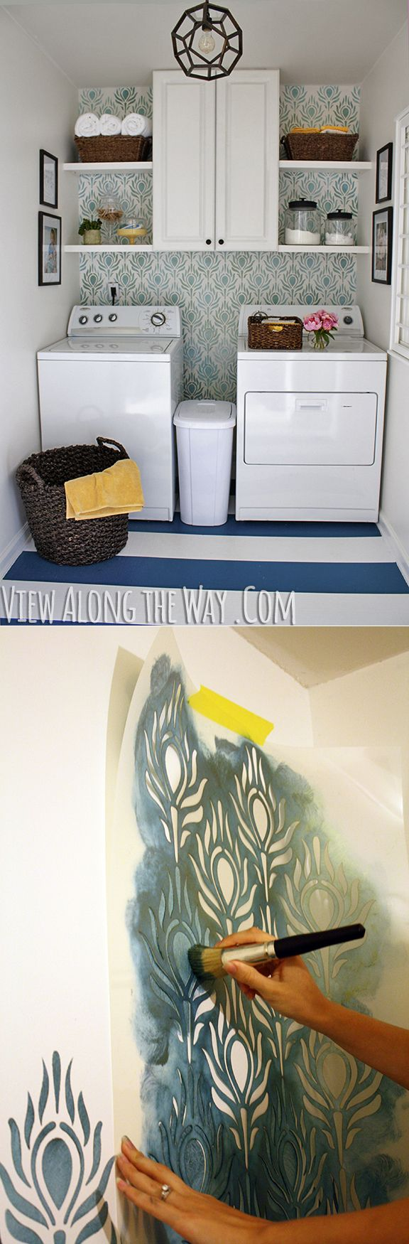 diy how to wall stenciling httpwwwviewalongtheway - Design Stencils For Walls