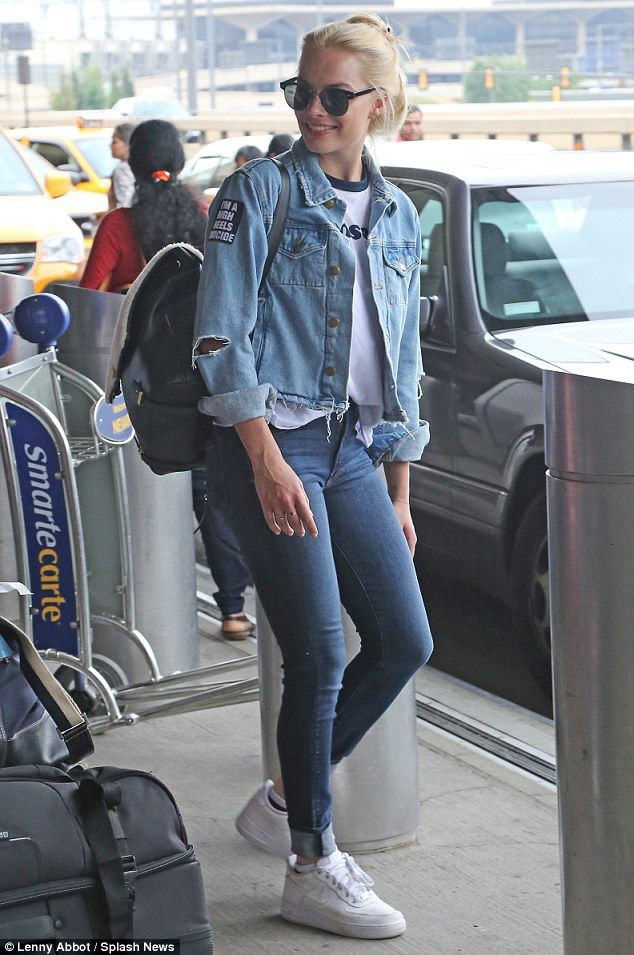 Hit or miss? Margot Robbie was spotted donning a double denim ensemble at the New Jersey airport