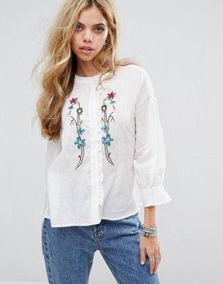 Boohoo Embroidered Ruffle Shirt