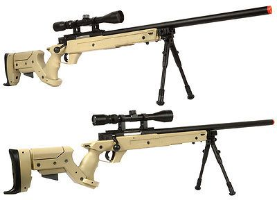 Rifle 62122: Well Type 97 L97 Sr22 Bolt Action Airsoft Sniper Rifle With Scope Bipod Tan BUY IT NOW ONLY: $165.0