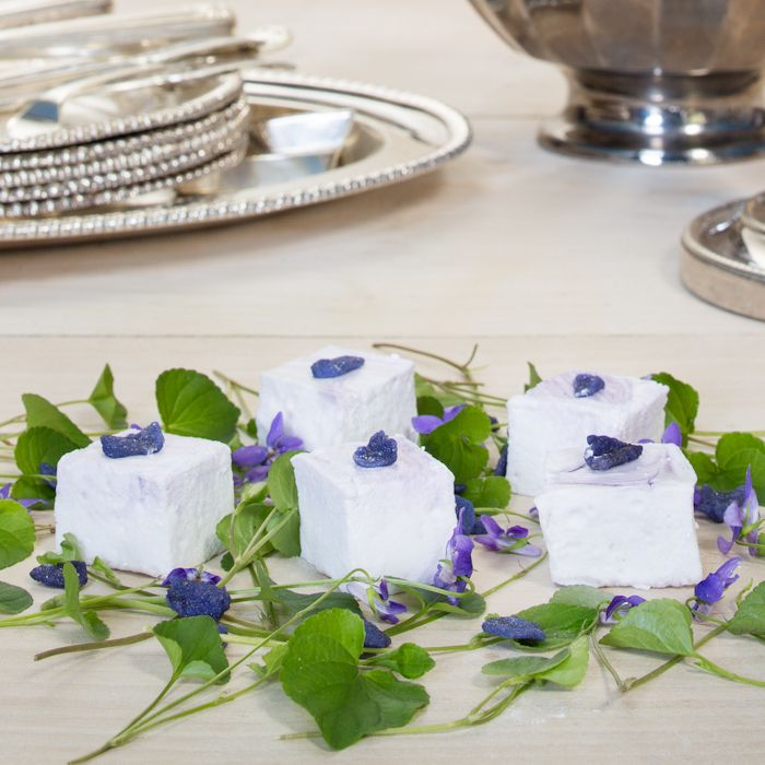 Creme de Violette Marshmallows made with real French Violet Liqueur and topped with crystallised violet petals- simply stunning! Find out more by clicking here.
