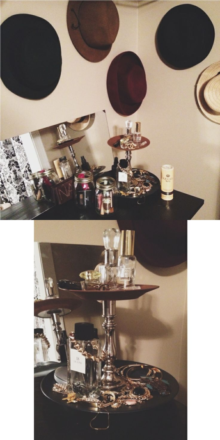 #DIY Vanity and Organization, Turned closet into vanity area. Took wood board and painted it black and hung it as a vanity table and took a cheap full length mirror and ripped border off from around it and it fit perfectly along the #vanity! Made plate tier out of two thrifted plates and an old candle holder to make a tier for accessories and etc! Use hooks to hang hats on wall for a nice touch. mason jars can be used for #makeup #organization