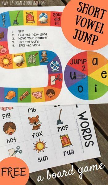 FREE Short Vowel Jump - this fun, free printable board game will help kids practice short vowels. This is perfect for preschool, prek, kindergarten, first grade.