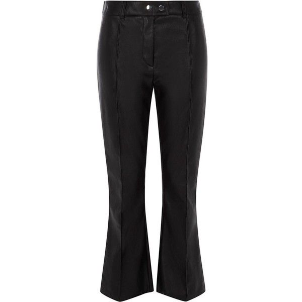 River Island Black faux leather kick flare pants found on Polyvore featuring pants, black, wide leg trousers, women, flare trousers, tall pants, snap button pants, flared leg pants and fake leather pants