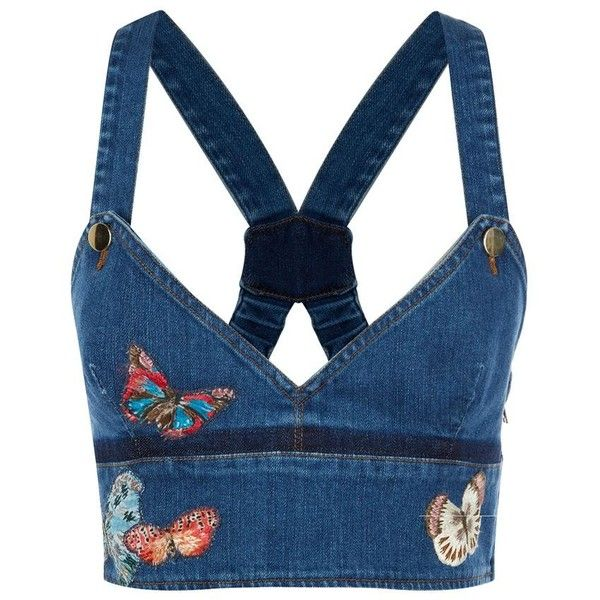 Valentino Butterflies Denim Crop Top (14.536.540 IDR) ❤ liked on Polyvore featuring tops, crop top, crop, strappy top, embroidered top, ruffle top, flounce crop top and flounce tops