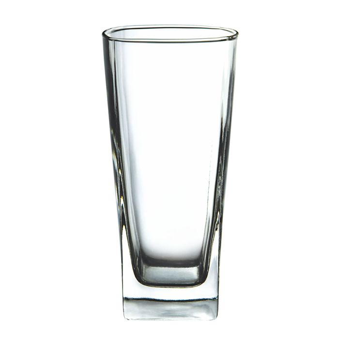 10oz Tall Pressed Clear Glass Tumbler Square Shape Thick