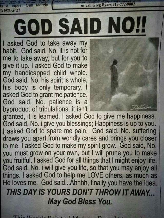 God said No...