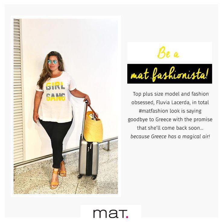 Τo διάσημο plus size top model @fluvialacerda απόλαυσε τις διακοπές της στα πιο ωραία μέρη της Ελλάδας και μας αποχαιρέτησε με την υπόσχεση ότι θα επισκεφτεί σύντομα ξανά τον μαγικό αυτό τόπο...! Με total #matfashion look στο αεροδρόμιο! Ανακάλυψε την μπλούζα με εντυπωσιακό logo με παγιέτες ➲ code: 671.1373 Ανακάλυψε το βαμβακερό cigarette παντελόνι ➲ code: 676.2119 #fluvialacerda #fashionista #wears_mat #ss17 #collection #ootd #instafashion