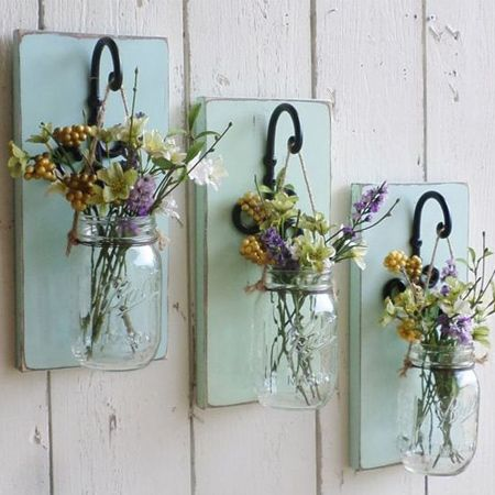 Use with brackets and Ball jars as plant holders [above], or bend medium-gauge copper wire to hang glass plant holders