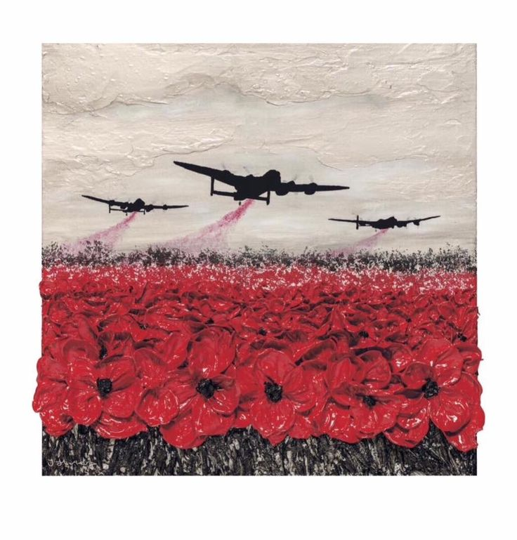 Raid Of Remembrance Limited Edition by Jacqueline Hurley Lancaster Bombers & Poppies remembrance art