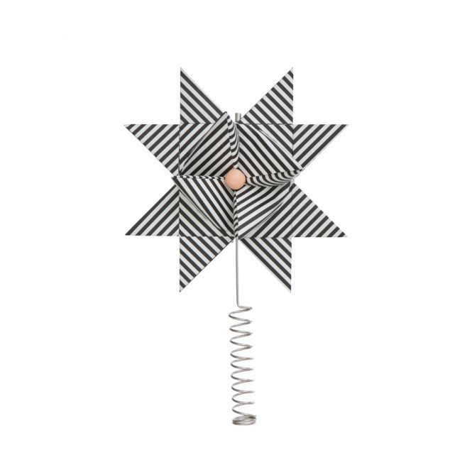 ferm LIVING Christbaumspitze Stern Paper Top Star Black Stripe