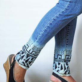 Make some trendy aztec jeans with this easy to follow tutorial.