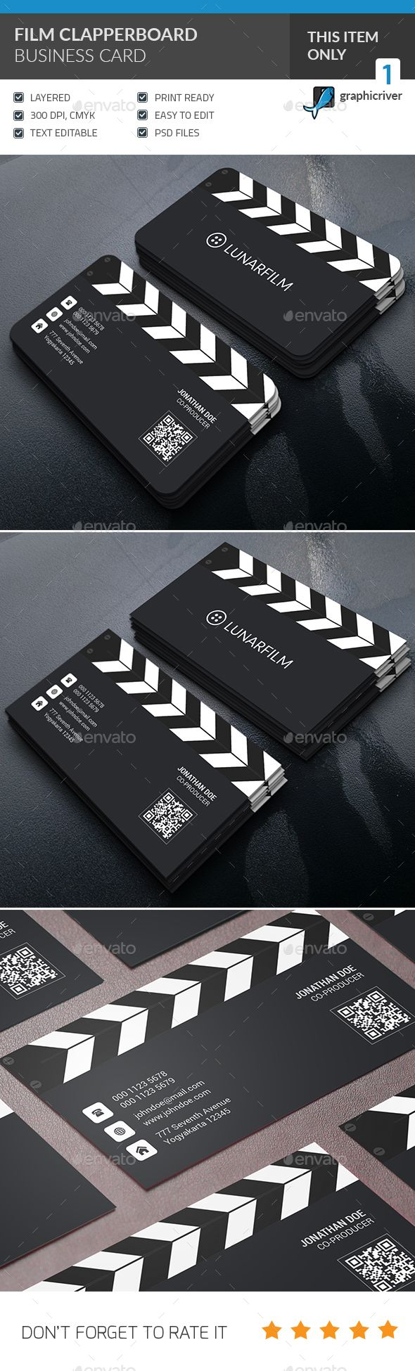 Film Clipperboard Business Card - PSD Template • Only available here ➝ http://graphicriver.net/item/film-clipperboard-business-card/14399584?ref=pxcr