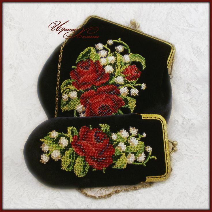 Комплект ( сумочка и очечник) Розовый букет | biser.info - всё о бисере и бисерном творчестве