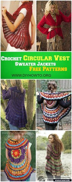 DIY Crochet Circular Vest/Sweater Jacket/Coat Free Patterns via @diyhowto  #Crochet #Outwear