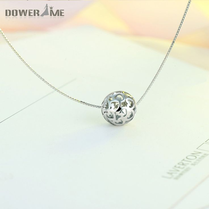 Dower Me 925 Sterling Silver Women Necklace with Hollow Ball Pendant Chain Snake Skeleton Chain Simple Gifts Fine Jewelry H33