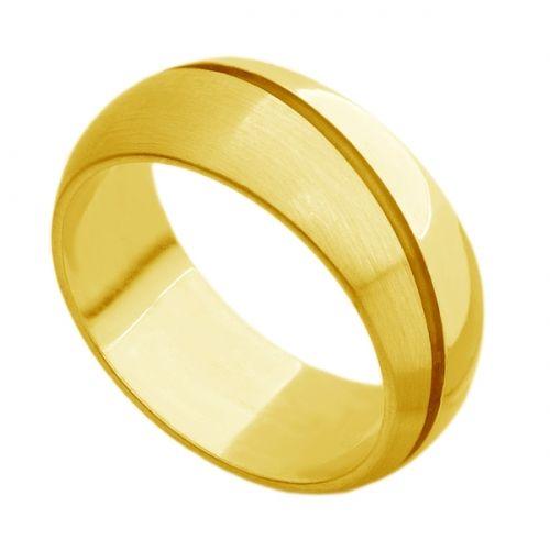 Par de Aliança de Casamento em Ouro Grossa Feminina com Diamantes e Masculina sem ar074 - Joiasgold #ouro #love #gold #amor #aliança
