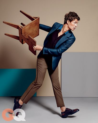 Ansel Elgort - Blazer, $1,450 by Prada Shirt, $980 by Prada Pants, $1,240 by Prada Shoes, $695 by Burberry Prorsum