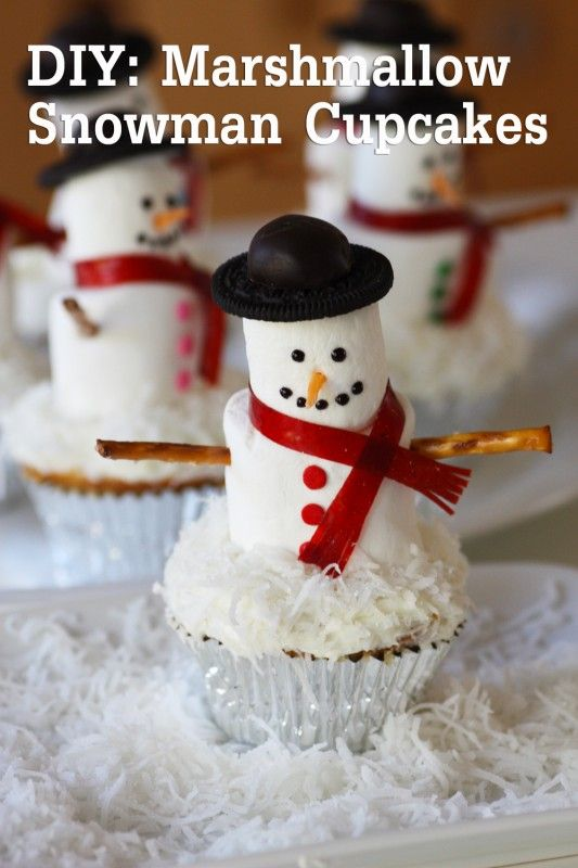 Marshmallow Snowman Cupcakes  White cupcakes with white frosting  	Regular marshmallows  	Jumbo marshmallows  	Oreos  	Dark Chocolate Truffles (we used Mint Creams from Trader Joe's)  	Wilton Decorating Gel in black  	Betty Crocker Cookie Icing in white (black optional)  	Shredded coconut  	Pretzel sticks  	Confetti dots  	Fruit roll  	Starburst candy (orange)