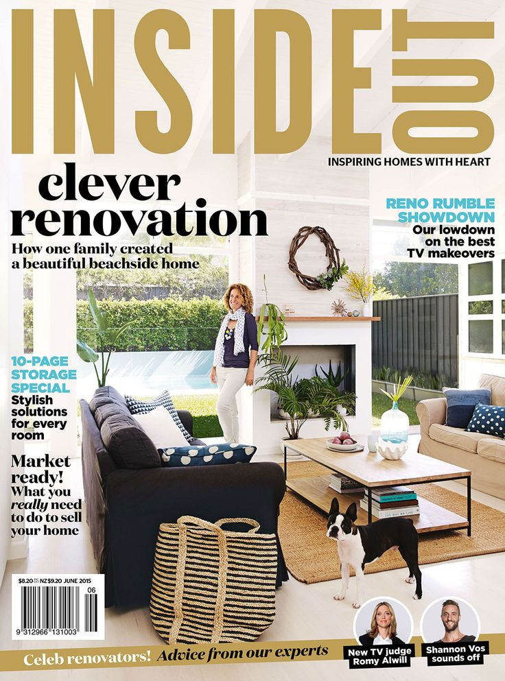 the June 2015 issue of Inside Out magazine.   Photography by Prue Ruscoe. Cover styling by Nicole Valentine Don. Available from newsagents, Zinio, http://www.zinio.com, Google Play, https://play.google.com/store/magazines/details/Inside_Out?id=CAowu8qZAQ, Apple's Newsstand, https://itunes.apple.com/au/app/inside-out/id604734331?mt=8&ign-mpt=uo%3D4 and Nook.