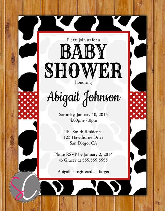 Cow Baby Shower Calf Invitation Black White Red Pattern Invite Be Not Moved Church Event Printable 5x7 Digital JPG (397) on Etsy, $16.00