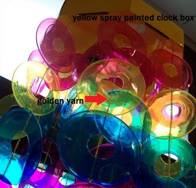 Recycle used plastic drinking cups from a party.  Melt them smaller then make them into a rainbow sun catcher wind chime (using #6 plastic drinking cups) Melt in 250 degrees oven on parchment paper, top side down for 2 min.