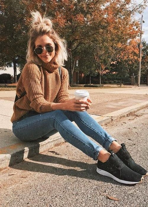Jeans, Carmel tan sweater, black tennis shoes, sunglasses, school outfit, casual fall and winter outfit