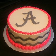 """Chevron cake....Maybe with pink chevron and yellow """"beading"""" and 2014 on top! How cute!"""