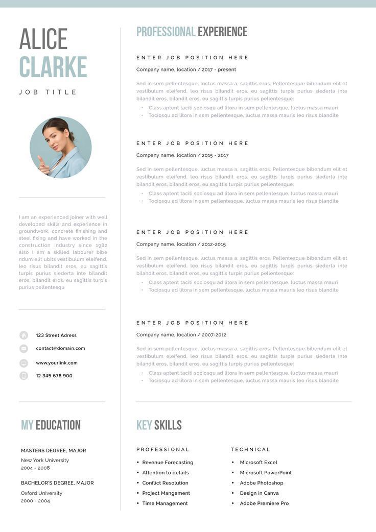 Professional Resume Template Clean Modern Resume Template Etsy Resume Template Professional One Page Resume Modern Resume Template