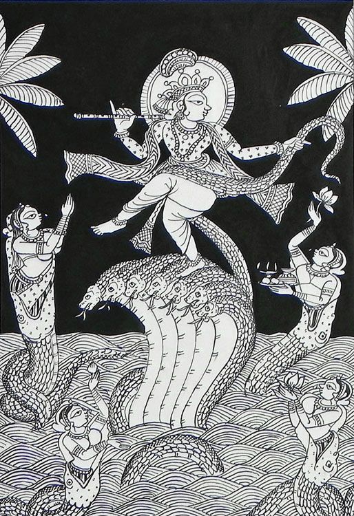 Krishna Dancing on The Hood of Kaliya Nag (Phad Painting on Cloth - Unframed))