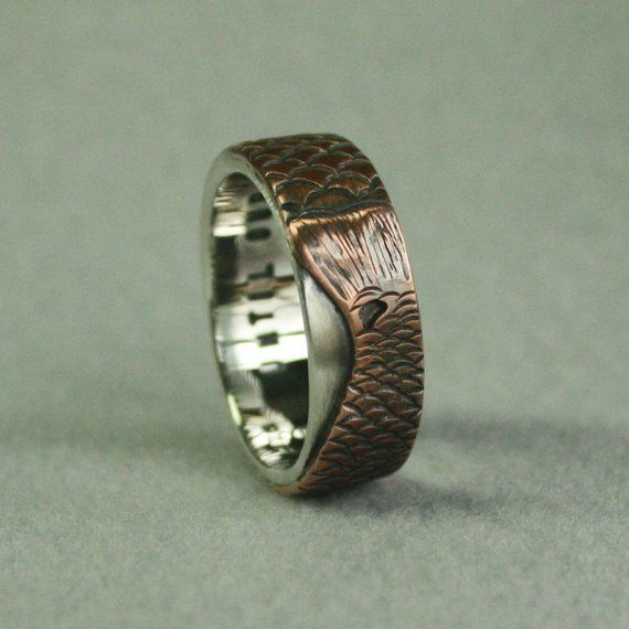 This Is An Example Of Custom One Of A Kind Unique Ring That I Can Create For You From Fisherm Wedding Band Engraving Personalized Wedding Bands Fishing Wedding
