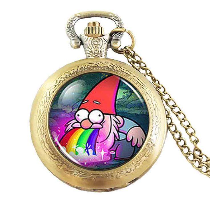 Drama Gravity Falls Rainbow Gnome Steve Steampunk Pocket Watch doctor who 1pcs/lot chain mens jewelry womens 2016 chain man
