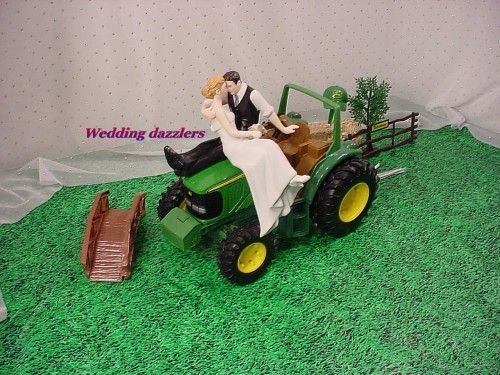 country grooms cake | John Deere Groom Tractor Wedding Cake So In Love Topper Sunflower Fun With rice crispy hay bales