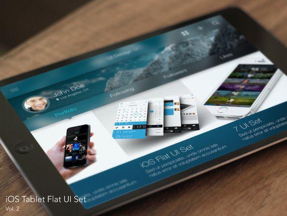 iOS Tablet Flat Pad UI Set Vol. 2 by Yuriy Kondratkov on @creativemarket